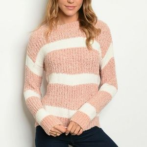 Sweaters - Cozy Pink and White Striped Sweater
